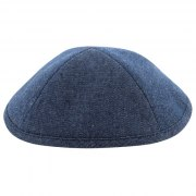 Quality Kippah Ultra Suede Blue with Pin Spot