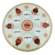 Lily Art Hand-Painted Seder Plate Red Pomegranate Theme