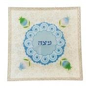 Lily Art Glass Matzah Stand with Blue Pomegranate