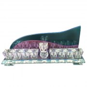Blue And Purple Backed Crystal Hanukkah Menorah by Lily Art