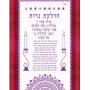 Lily Art Glass Candle lighting Blessing Plaque in Hebrew with Pomegranate