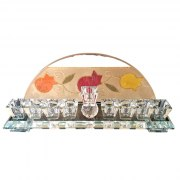 Hand Painted Crystal Hanukkah Menorah with Fire Toned Pomegranates by Lily Art