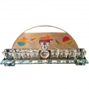 Hand Painted Crystal Hanukkah Menorah with Multicolored Pomegranate by Lily Art