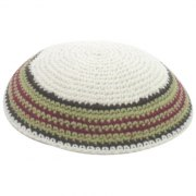 Black Red and Grey Stripes Knit Kippah