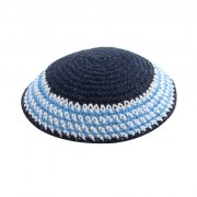Blue and Light Blue Stripes Knit Kippah
