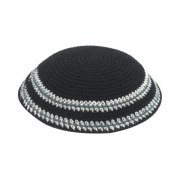 White and Gray Stripes on a Black Knit Kippah
