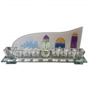 Hand Painted Crystal Hanukkah Menorah with Multicolored Jerusalem by Lily Art