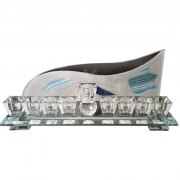 Hand Painted Crystal Hanukkah Menorah with Blue Tulip by Lily Art