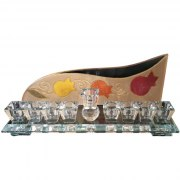 Hand Painted Crystal Hanukkah Menorah with Red Orange and Yellow Pomegranates by Lily Art