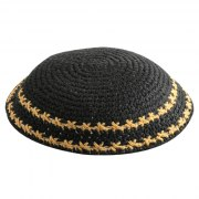 Black Knit Kippah with Yellow Stripe