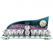 Purple And Blue Backed Crystal Hanukkah Menorah with Jerusalem by Lily Art