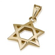 14K Gold Arch Shaped Star of David Necklace Medium