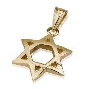 14K Gold Arch Shaped Star of David Necklace Medium