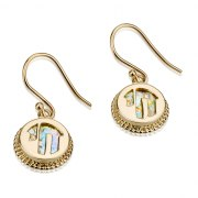14K Gold and Roman Glass, Cutout Chai Earrings