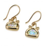 14K Gold and Roman Glass Earrings