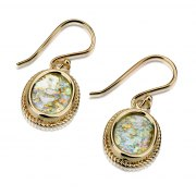 14K Gold and Roman Glass Oval Design Earrings