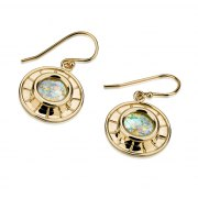 14K Gold and Roman Glass Round Earrings