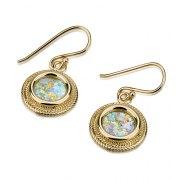 14K Gold and Roman Glass Round Filigree design Earrings