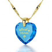 14k Yellow Gold Best Mom Cubic Zirconia Turquoise Blue Topaz