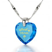 14k White Best Mom Cubic Zirconia Turquoise Blue Topaz