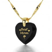 14k Yellow Gold Best Mom Cubic Zirconia Black Jet