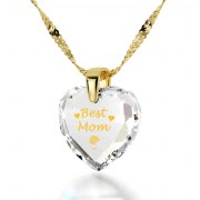 14k Yellow Gold Best Mom Cubic Zirconia Crystal Clear