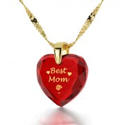 14k Yellow Gold Best Mom Cubic Zirconia Red Garnet