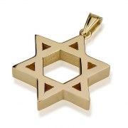 14K Gold Block Design, Star of David Necklace