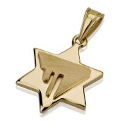 14K Gold Chai Contemporary Design, Star of David Necklace