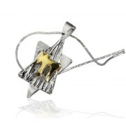 14K Gold Chai on Silver, Star of David Necklace