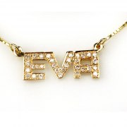 14K Gold English Name Necklace set with Diamonds - Block Print Style