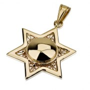 14K Gold Filigree and Dome Design, Star of David Necklace