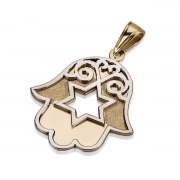 14K Gold Filigree Hamsa, Star of David Pendant