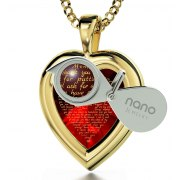 14K Gold Heart Frame Thank You Mom with Cubic Zirconia Nano Jewelry