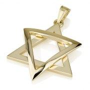 14k Gold Hearts Shield Star of David Necklace