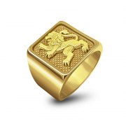 14K Yellow Gold Jerusalem Lion Ring