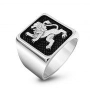 14K White Gold Jerusalem Lion Ring