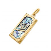 14k Gold Mezuzah Necklace with Roman Glass