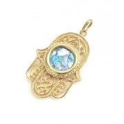 14k Gold Necklace Hamsa and Roman Glass Filigree Design