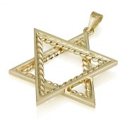 14k Gold Ornate Star of David Necklace with Twisted Cord