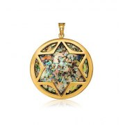 14K Gold Roman Glass Circle Star of David Necklace