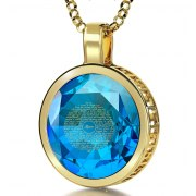 14K Yellow Gold with Cubic Zirconia Turquoise Blue Topaz