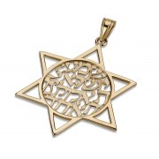 14K Gold Shema Yisrael, Star of David Necklace