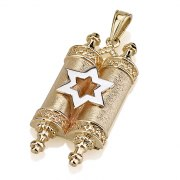 14K Gold Star of David and Torah Scroll Necklace