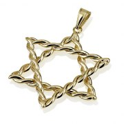 14k Gold Twisted Star of David Necklace