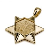 14K Gold Western Wall, Star of David Necklace