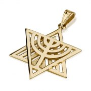 14K Menorah , Star of David Necklace
