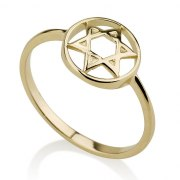 14K Yellow Gold Circle and Star of David Ring