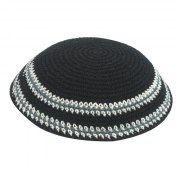Black with White Stripes Knit Kippah