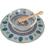Lily Art Glass Honey Bowl On Circle Tray With Mandala And Blue Pomegranates